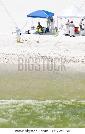 PENSACOLA BEACH - 23 JUNE:  BP oil workers attempt to remove oil washed ashore Pensacola Beach, FL on June 23, 2010.