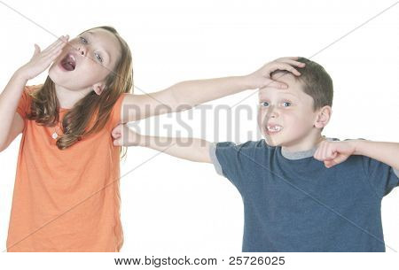 Young girl making boy angry with tease