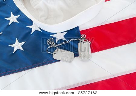 Sailor hat and dog tags