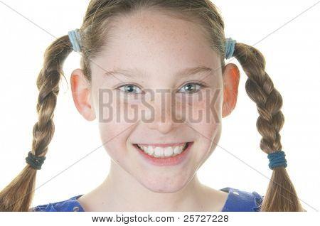 happy girl wearing hair braids