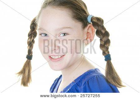 cute girl looking happy in braids