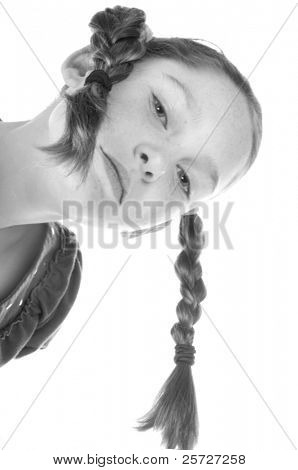 young girl with funny braids