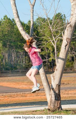 tomboy jumping out of tree