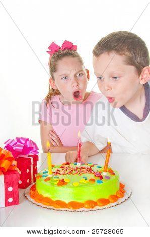 Boy bothering girl on birthday