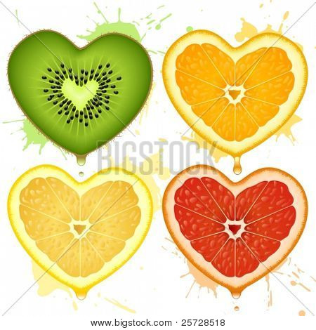 Vector citrus hearts