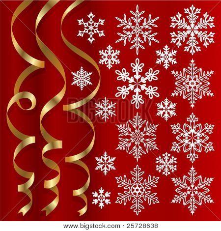 Christmas set of ribbons and snowflakes