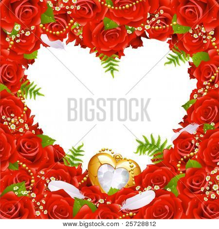 Greeting card with roses, feathers and jewelry
