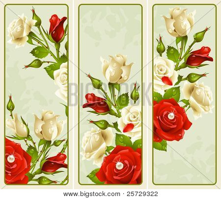 Vector set of Rose vertical banners