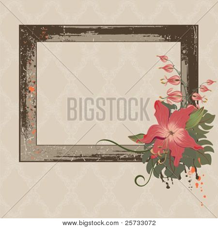 The decorative made old frame with flowers