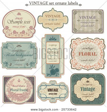 Vintage vector set labels