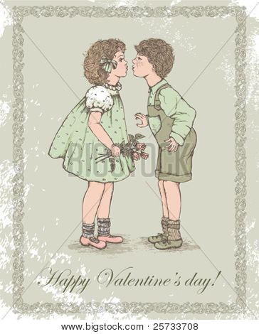 Retro greeting card with children. The Valentine's day.