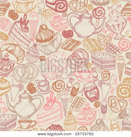 Seamless doodle food pattern dessert