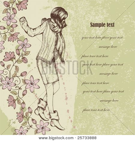 Beautiful floral vintage background with the girl
