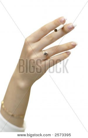 Young Women Hand With Cigarete