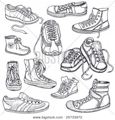 Big set of sneakers for men, women,teenagers and children