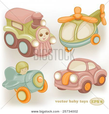 Set of baby vector retro toys