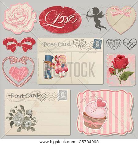 Set of scrap booking beautiful love symbols