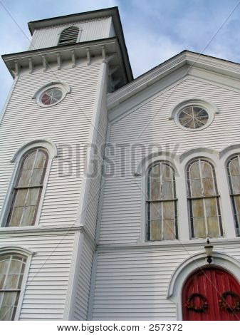 White Church With Red Door