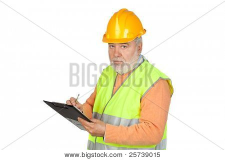 Senior inspector with hoary hair and clipboard isolated on white background