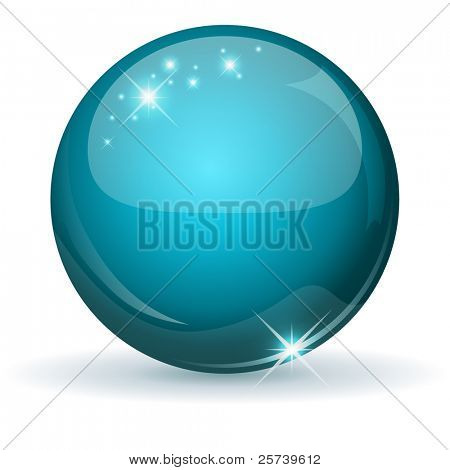 Teal glossy sphere isolated on white.