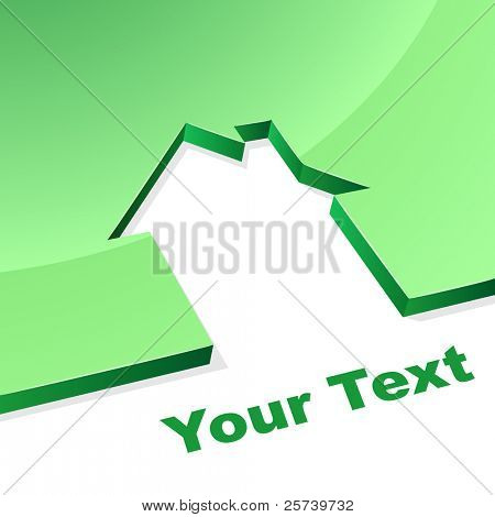 Green house 3D shape concept image with white copy space.