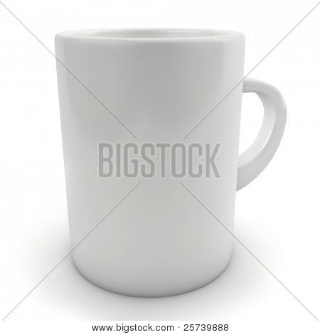 Traditional blank white mug isolated on white.