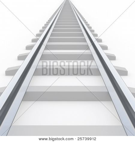 Strait railway isolated on white.