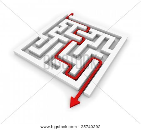 Red arrow going through the maze. Conceptual illustration.
