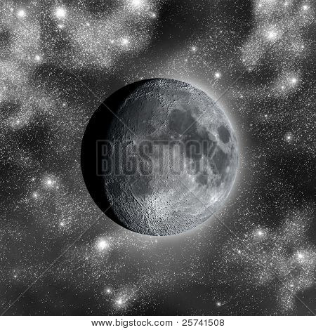 Waxing gibbous against myriads of stars