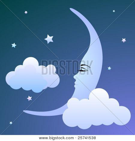 ziemlich Mond schlafen in den Wolken