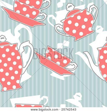 Постер, плакат: Ретро горошек чайный набор бесшовные модели, холст на подрамнике