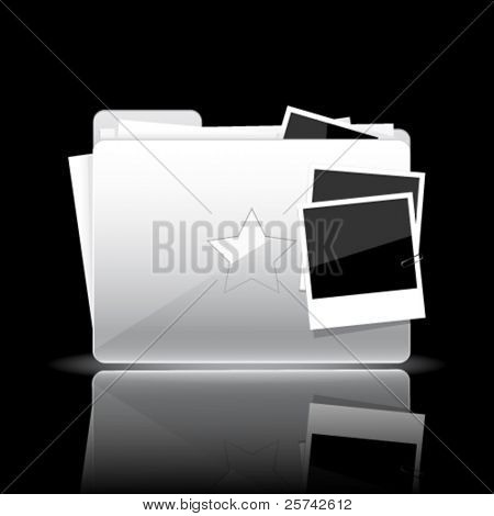 Folder icon. White glossy folder with documents and photo cards isolated on black background