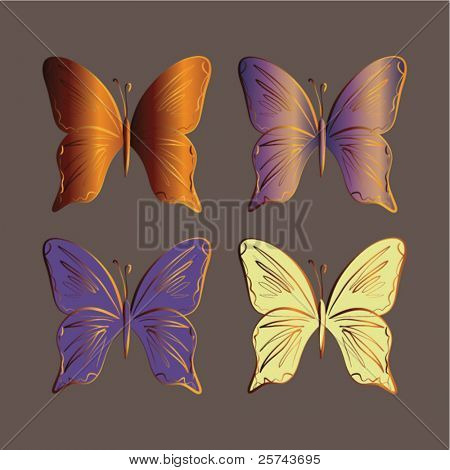 colorful butterflies, vector