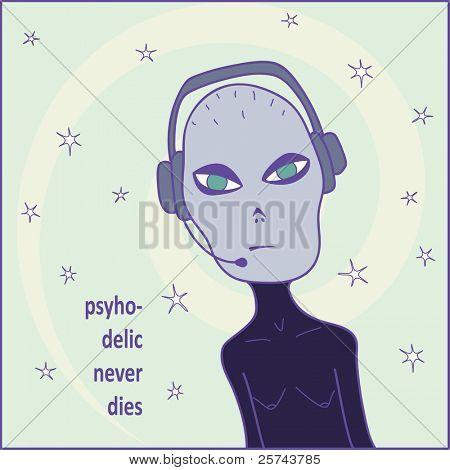 psyhodelic design with alien woman Dj, vector