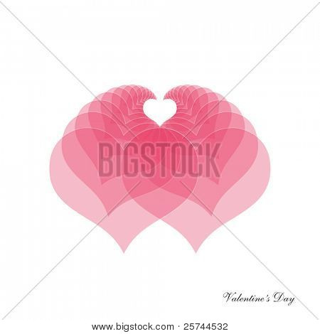 design element with two interfering hearts, vector eps9