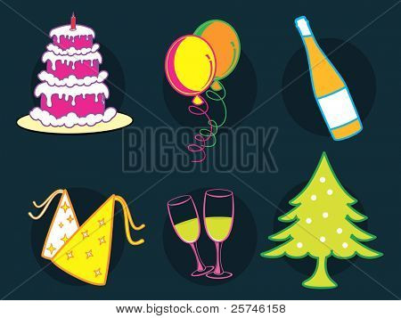 A set of colorful Christmas icons like cake, balloon, Christmas tree, wine glass, champagne, bottle on dark blue background for Party, Christmas & other occasions.
