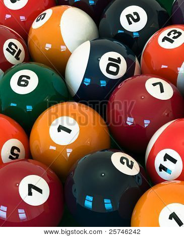 A lot of balls for billiards close-up, high resolution