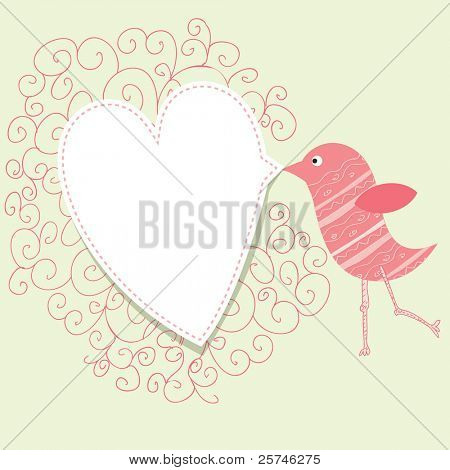 Bird with speech bubble heart. Vintage valentine concept.