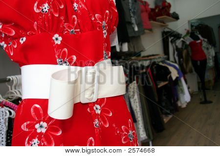 White Belt On Red Dress