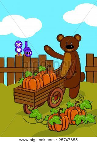 Happy Thanksgiving, Bear With Pumpkins & Birds