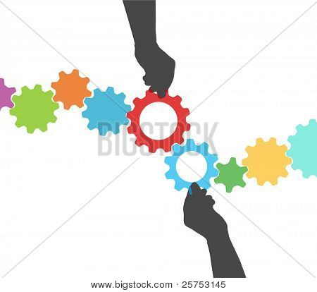 People hands hold colorful gears to mesh two lines of tech project management
