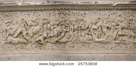 Frieze Sculpture Of Roman Battle Against The Gauls