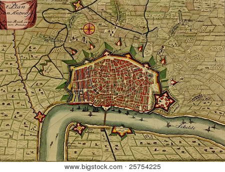 Antique Map Of Antwerp, Netherlands