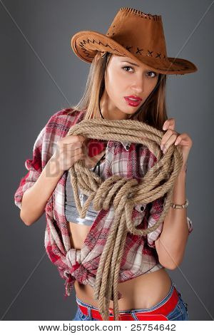 Young Beauty Woman In Cowboy Hat
