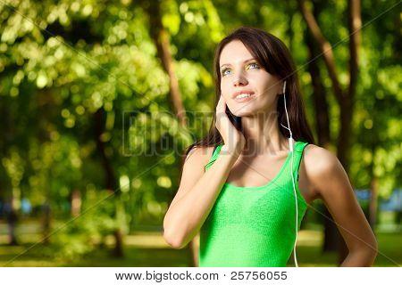 woman enjoy the music