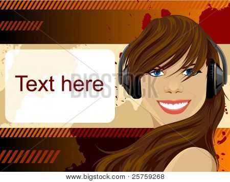 vector beauty girl with headphones