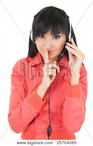 Business woman-operator in earphones