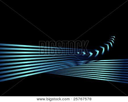 Abstract shiny business background with stripes and arrows - clean concept of success and progress - black and blue green colored design
