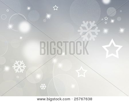 Light grey and white background with shiny stars, circles and snowflakes - abstract design for Christmas, New Year and winter themes
