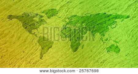 Grunge eco world map - green paper pattern design, environmental style